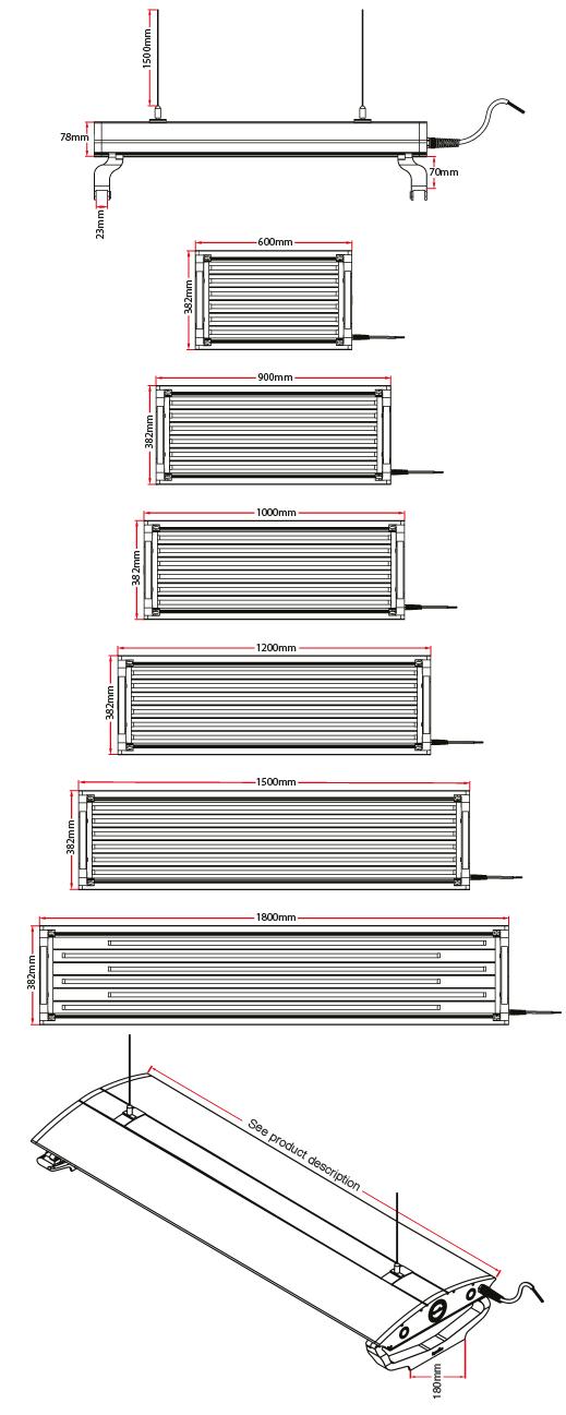 AquaLumi Series 2 Dimensions and Sizes