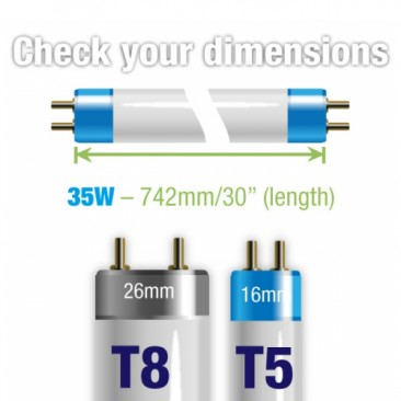 35W Juwel Aquarium T5 Fluorescent Blue Marine Actinic (420nm) Tube Bulb Dimensions