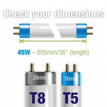 45W Juwel Aquarium T5 Fluorescent White Marine 14000K 14K Tube Bulb Dimensions