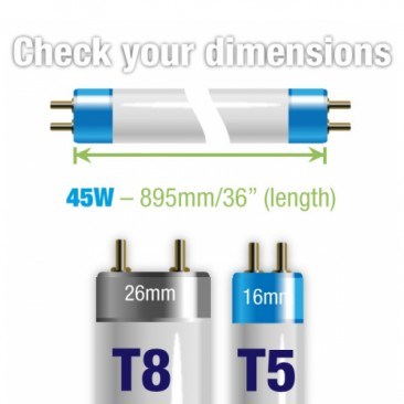 45W Juwel Aquarium T5 Fluorescent Blue Marine Actinic (420nm) Tube Bulb Dimensions