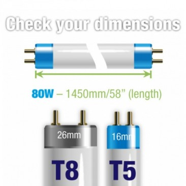 80W Aquarium T5 Fluorescent 14000K 14K Tube Bulb Dimensions