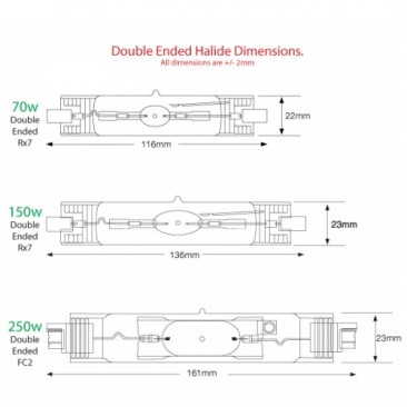 30000K 150W Double Ended Aquarium Metal Halide Bulb 30K Dimensions